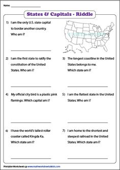 Explore our 50 states worksheets and learn to identify the states and capitals of the United States; locate them on printable maps, flashcards and more. Graphing Worksheets, Social Studies Worksheets, 5th Grade Social Studies, Us Geography, Geography Activities, Capital Of Usa, Ocean Lesson Plans, States And Capitals, Reading Comprehension Strategies
