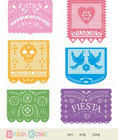 Papel Picado Clip Art Set-Paper Cut Clip Art by dariakonik
