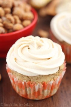 The BEST banana cupcakes I've ever made! Topped with peanut butter frosting & still 100% clean-eating!