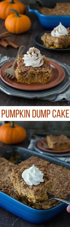 """This pumpkin dump cake is the best fall dessert! Just mix, dump, and bake - it's ready in under 1 hour! This will be a family favorite!: // even though I hate the term """"dump cake"""" Fall Desserts, Just Desserts, Delicious Desserts, Yummy Food, Pumpkin Recipes, Fall Recipes, Sweet Recipes, Cupcakes, Cupcake Cakes"""
