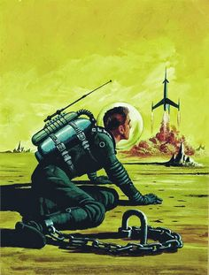 """The Chained Man"". Cover for Amazing Stories, May Art by Ed Valigursky. A recurring theme: stranded on an alien planet, witnessing your crew leave without you. Arte Sci Fi, Sci Fi Art, Art Furniture, Sci Fi Kunst, Science Fiction Kunst, Fractal, Classic Sci Fi, And So It Begins, Tecno"