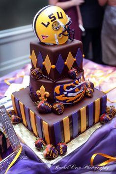 LSU groom's cake, bottom layer stripes