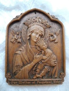 Vintage Syroco-Style Barwood Our Mother of Perpetual Help Religious Plaque via Orphaned Treasures Etsy