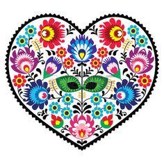 Polish folk art art heart embroidery with flowers - wzory lowickie photo