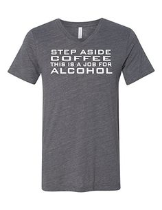 3bd6c36cfb5d Step Aside Coffee 3005 Premium V-Neck T-shirt Slogan Humorous T Deep Heather  Gray XX-Large
