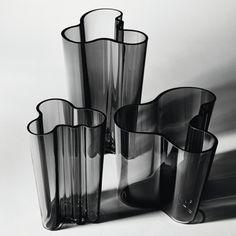 Iittala Aalto vases in dark grey