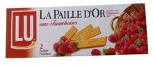 PAILLE D'OR $6.30 Ask a French sweet-lover to give you her top three biscuits and she will likely name Paille d'Or (litterally, golden straw). These crispy and delicate raspberry filled wafers are perfect for afternoon tea or to accompany ice cream and fruit salads.  The origin of LU dates back to the marriage of Monsieur Lefebvre, a baker and Mademoiselle Utile in 1850 in the seaside town of Nantes. The couple started baking cookies and... 170 grams / 5 oz Granola, French Cookies, No Bake Cookies, Baking Cookies, Raspberry Filling, Nyc, French Food, Grocery Store, Afternoon Tea