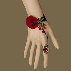 Vampire Queen Handmade Red Nonwoven Fabric Gothic Lolita Bracelet with Red Gemstone Ring