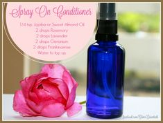 DIY ~ Spray On Conditioner for Dry Hair Don't you find winters and straight irons, etc are so drying on your hair? Here is something you may want to try. Ingredients: • 1/4 tsp. Jojoba or Sweet Almond Oil • 2 drops Rosemary • 2 drops Lavender • 2 drops Geranium • 2 drops Frankincense • 2 drops Clary Sage (optional - for brittle, fragile hair) • Distilled Water Directions: In a 2 ounce glass amber or cobalt blue spray bottle combine ingredients. Shake well with use.