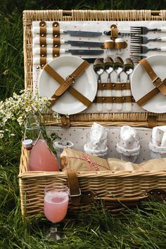 A beautiful picnic hamper ready to feed four people on a hot summer's day #matchmade