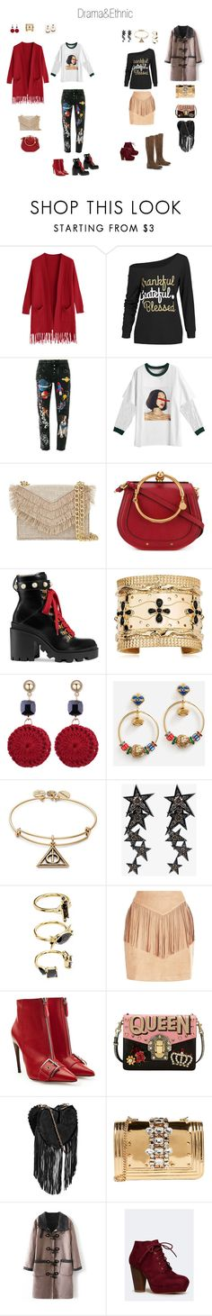 """Drama&Ethnic"" by akmaral-mail on Polyvore featuring мода, Dolce&Gabbana, Cynthia Rowley, Chloé, Gucci, Aurélie Bidermann, Alex and Ani, Luis Miguel Howard, Noir Jewelry и Alexander McQueen"