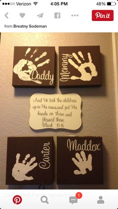Family handprint on individual time.