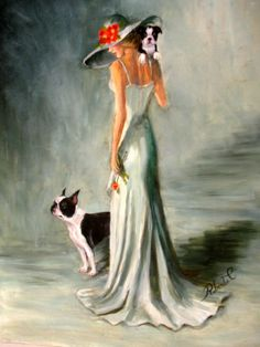 Boston Terrier with lady dog art print matted #1 of 250