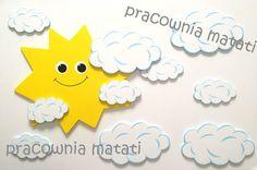 drewniane dekoracje, matati, rękodzieło, drewno, pokój dziecięcy, słoneczko, chmurki, przedszkole, wystrój, aranżacja