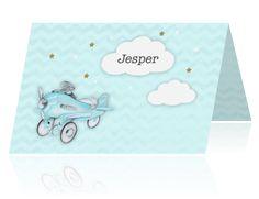 Geboortekaartje voor een jongen met vliegtuigje vintage