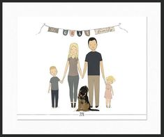 Family Portrait Custom, Custom Portrait Illustration, New Home Gift, Housewarming Gift, Personalized Anniversary Gift, Gift For Family