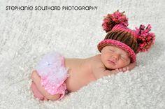 Newborn Boy/Girl Hat Knitted with Pom Poms