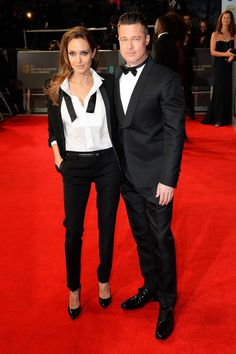 Angelina and Brad Are Picture-Perfect in Matching Ensembles @ Bafta Awards 2014