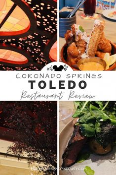 Toledo at the Walt Disney World Coronado Springs Resorts invites beautiful tapas, spanish cuisine, exquisite desserts and rooftop dining. Check out all the best foods on the menu and the amazing atmosphere at this new Disney Restaurant. Disney World Packing, Disney World Rides, Disney World Florida, Walt Disney World Vacations, Disney Worlds, Disney Drinks, Disney Snacks, Disney Food, Toledo Restaurants