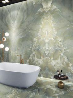 Dream Home Design, Home Interior Design, Interior And Exterior, House Design, Onyx Tile, Large Format Tile, Bathroom Design Luxury, Bathroom Inspiration, Green Onyx
