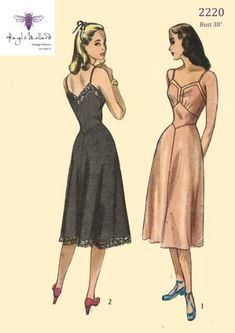Vintage 1940's Sewing Pattern: Women's Full Length | Etsy Vintage Dress Patterns, Dress Sewing Patterns, Clothing Patterns, Vintage Dresses, Sewing Ideas, Fashion Patterns, Fabric Patterns, 1940s Fashion, Vintage Fashion