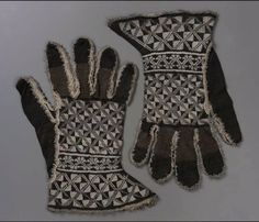 Pair of knitted gloves        Spanish, possibly 16th century         Spain  Dimensions      26.0 x 16.5 cm (10.25 x 6.50 in.)  Medium or Technique      Silk and silver metallic thread knit, metallic fringe trim; silk and metallic ribbon lining (later addition)    Accession Number      38.1252a-b