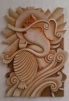 Mural Art by Datta Vaidya Ganesha Painting, Ganesha Art, Lord Ganesha, Mural Wall Art, Mural Painting, Wood Sculpture, Wall Sculptures, Plaster Art, Indian Art Paintings