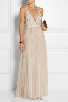 Needle & Thread | Embellished chiffon and tulle maxi dress | NET-A-PORTER.COM