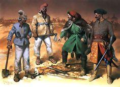 • Peasant infantrymen, 1630s  • Light-armed cavalryman, 1600-1625  • Polish 'Cossack' cavalry officer, 1600-1625   Angus McBride
