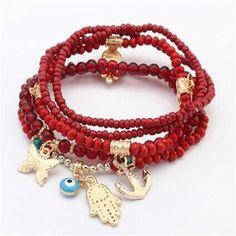 Khamsa Good Fortune & Protection Charm Bracelet - Hand of Fatima Multi-layer Boho Style