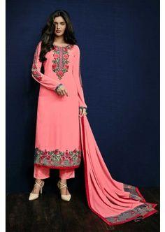 Pink Semi Georgette Salwar Kameez, - £86.00, #OnlineDresses #FashionUK #DesignerSuit #BollywoodFashion #Shopkund