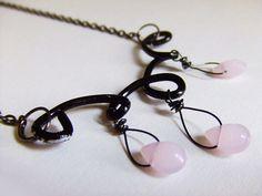 doodle line black wire neckalce and light pink by PaleRoom on Etsy, $20.00