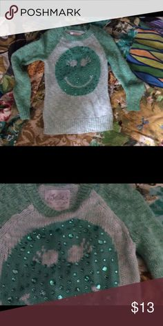 Green Smiley Face Sweater Girls Green Smiley Face Sweater. Size 8. Justice. Justice Shirts & Tops Sweaters