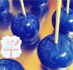 Royal blue candy apples Baby Shower Cakes, Baby Shower Themes, Baby Boy Shower, Baby Shower Decorations, Shower Centerpieces, Balloon Decorations, Blue Candy Apples, Clue Party, Diamond Party