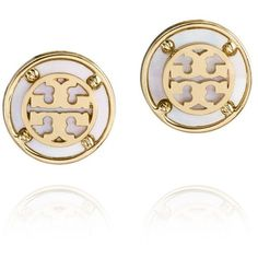 Tory Burch Wren Logo Button Earring ($88) ❤ liked on Polyvore featuring jewelry, earrings, accessories, tory burch, tory burch jewellery, polish jewelry, earrings jewelry, iridescent earrings and cut out jewelry