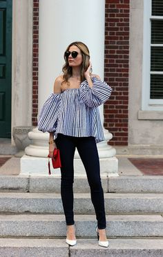 Stripes, off the shoulder, and billowing sleeves