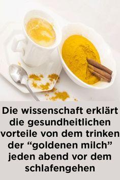"""Die wissenschaft erklärt die gesundheitlichen vorteile von dem trinken der """"goldenen milch"""" jeden abend vor dem schlafengehen Cantaloupe, Fruit, Breakfast, Food, Golden Milk, Heart Burn, Health Benefits, Health And Fitness, Science"""