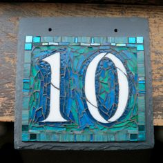 Mosaic House Number on Slate 2 Digit 8x8 by nutmegdesigns on Etsy