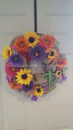 Sunflower Gerber Daisy Burlap Wreath by ParkerGrayceAlden on Etsy