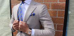 Ovesper New York Mens Neckties & Pocket Squares - Menswear Fashion - Sky Blue Yellow Tie | OTAA.COM