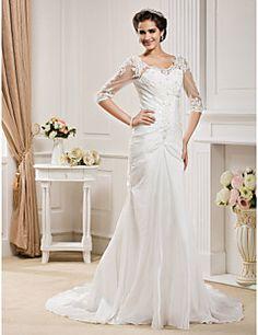 Lan Ting Trumpet/Mermaid Plus Sizes Wedding Dress - Ivory Chapel Train Scoop Taffeta