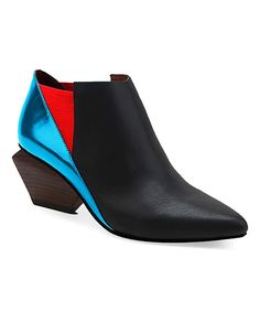 Take a look at this Black & Blue Leather Bootie today!