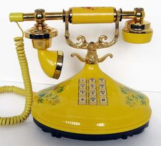 Vintage Empress Yellow Florals Princess Phone by hootandeye
