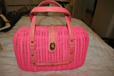 Vintage 1950's HOT PINK Wicker Purse LEATHER Straps! Marcus Brothers