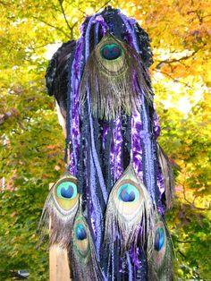 Peacock Feather Fairy Elf Yarn Hair Piece Tribal Fusion Belly Dance Hair Fall   eBay