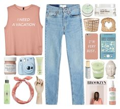 """i need a vacation"" by ladykrystal ❤ liked on Polyvore featuring RE/DONE, Mario Badescu Skin Care, Emissary, HAY, A.P.C., Fujifilm, French Girl, Herbivore, Carol's Daughter and Carven"