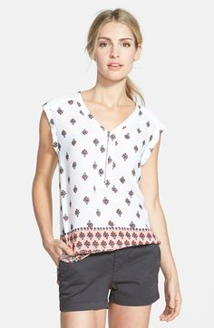 Pleione Zip V-Neck Woven Top available at #Nordstrom