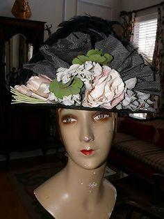 1900 05 Black Straw Hat Edwardian Show Off Spectator Tall Crown Silk Flower   eBay
