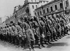 Gas mask drill on theKhreshchatyk, Kiev, 1st May 1941.