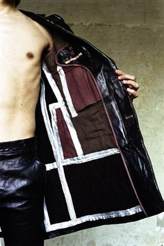 "tuukka13:  ""Carol Christian Poell Fall 2004 Object dyed leather long jacket - inside detail."""